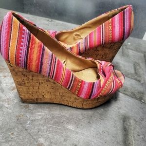 Pink Open-Toe Bow Cork Wedges